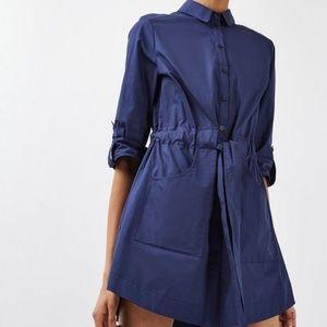 Topshop Navy Blue Poplin Belted Shirtdress 2